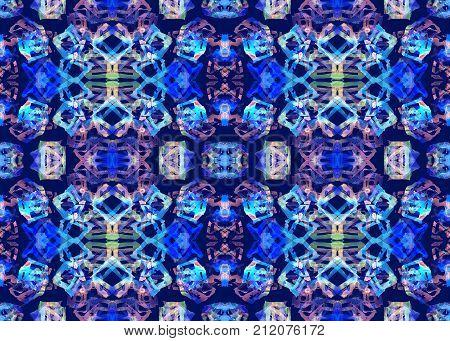 Ethnic pattern. Watercolor geometric seamless pattern. Tribal native abstract endless rapport. Swimwear textile design with folk aztec handmade seamless cube print. Horizontal design orientation.