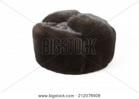 black fur hat isolated on white background