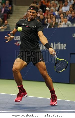 NEW YORK - AUGUST 31, 2017: Grand Slam champion Rafael Nadal of Spain in action during his US Open 2017 second round match at Billie Jean King National Tennis Center