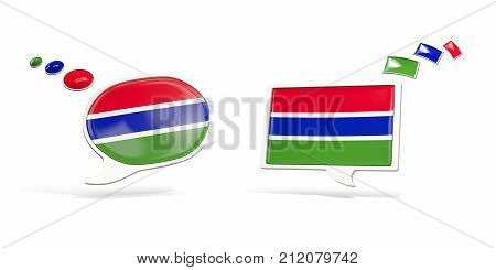 Two chat icons with flag of gambia. Round and square speech bubbles. 3D illustration poster