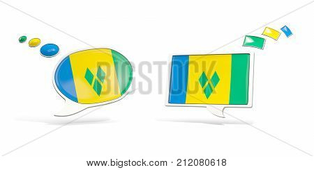 Two Chat Icons With Flag Of Saint Vincent And The Grenadines