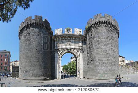 NAPLES ITALY - JUNE 22 2014: Porta Capuana Gate Landmark in Napoli Italy.
