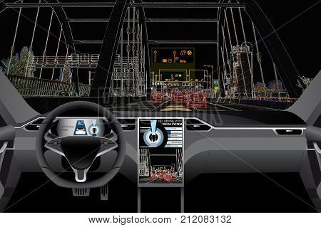 Self driving car on a road. Artificial intelligence of vehicle.
