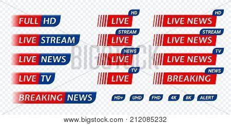 Live Stream Tv News Tag Icon. Video Symbol Live Broadcasting