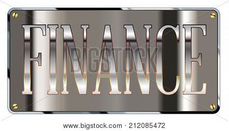 Silver finance department plaque over a white background