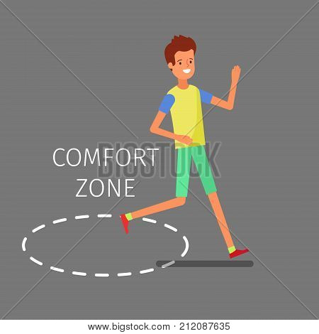 Concept of comfort zone. Businessman leaving the comfort zone to success. Flat design, vector illustration.