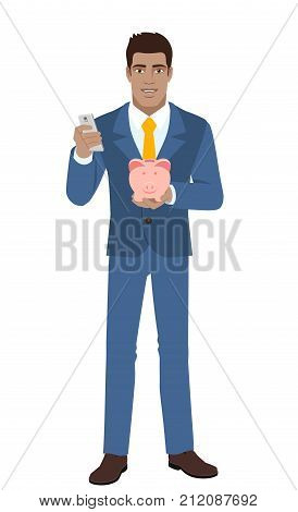 Businessman with mobile phone and piggy bank. Full length portrait of Black Business Man in a flat style. Vector illustration.