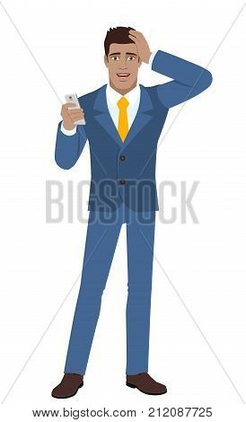 Businessman with mobile phone grabbed his head. Full length portrait of Black Business Man in a flat style. Vector illustration.