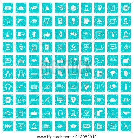 100 call center icons set in grunge style blue color isolated on white background vector illustration