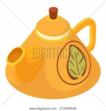Kettle green tea icon. Isometric illustration of kettle green tea vector icon for web