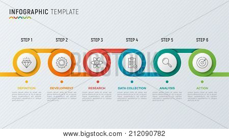 Vector timeline chart infographic design for data visualization. 6 steps, options, processes.