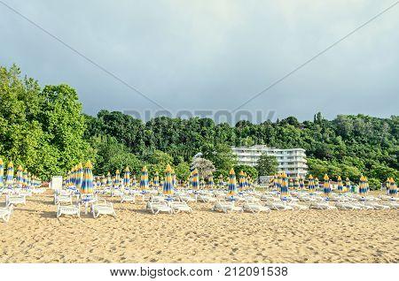 Albena, Bulgaria - June 15, 2017: Arabella Beach Hotel Near The Black Sea Shore With Golden Sands, U