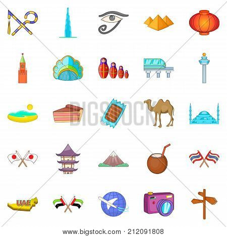 Guided tour icons set. Cartoon set of 25 guided tour vector icons for web isolated on white background