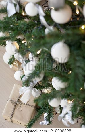 Christmas tree with presents, Garland lights new year postcard 1