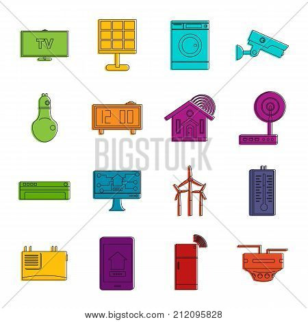 Smart home house icons set. Doodle illustration of vector icons isolated on white background for any web design