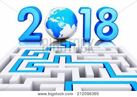 3D render illustration of the path across labyrinth to 2018 year with blue Earth globe isolated on white background with reflection effect