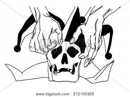 Poor Yorick. Human skull in a jester hat. Poor Yorick LINE. Vector image