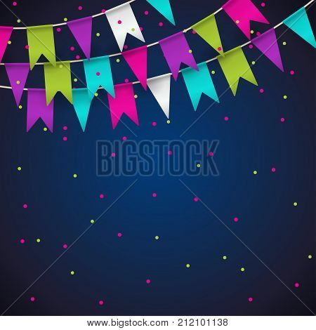 Colorful garlands on blue background. Party colorful bunting flags. Vector illustration party pennants with different forms. Birthday decoration. Hanging colored flags and soaring confetti.