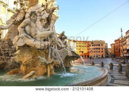 Fountain of the Four Rivers (Fontana dei Quattro Fiumi) in Piazza NavonaRome Italy