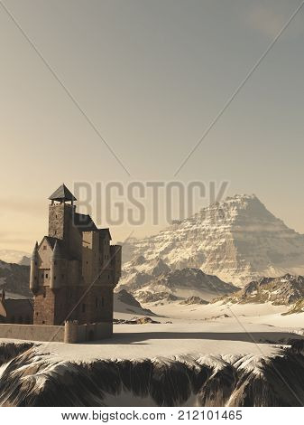 Fantasy illustration of an ancient medieval Scottish style tower house castle in snow covered winter mountains, digital illustration (3d rendering)