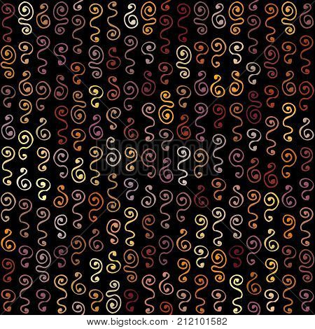 Ethnic boho seamless pattern in african style on black background. Tribal art print.