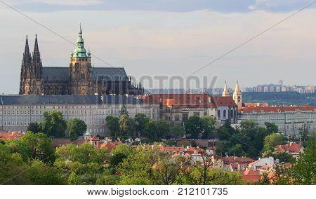 Prague Castle and Saint Vitus Cathedral, Czech Republic. Panoramic view.