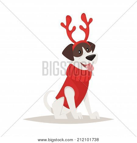 Vector cartoon style illustration of cute dog with deer Christmas horns.Isolated on white background.