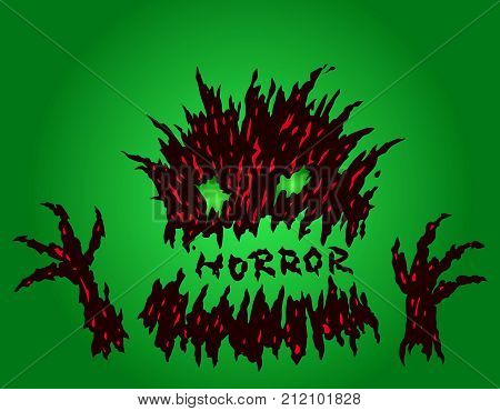 Cute green terrible stub monster. The horror genre. Scary halloween character. Vector illustration.