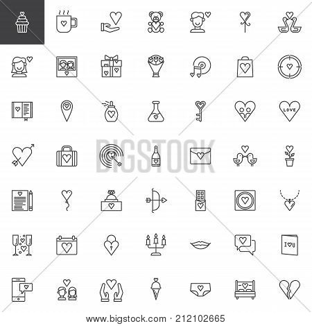 Valentine's Day line icons set, outline vector symbol collection, linear style pictogram pack. Love, wedding signs, logo illustration. Set includes icons as teddy bear, romantic music, heart, present