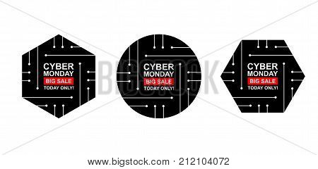Cyber monday sale labels set. Collection of three stickers of geometric shapes for your design. Vector stock illustration