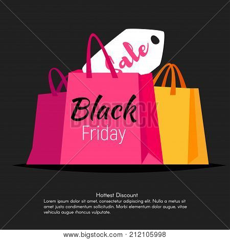 Vector style web black friday banner template design with colorful shopping bags and sale lable on black background