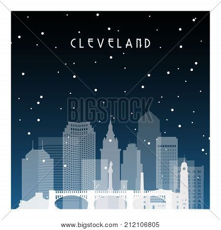 Winter night in Cleveland. Night city in flat style for banner poster illustration game background.
