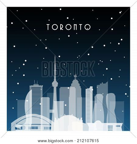 Winter night in Toronto. Night city in flat style for banner poster illustration game background.