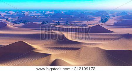 Amazing sight on Sahara desert at sunset 3d rendering