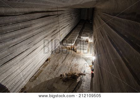 Big open cavern in the underground salt mine shaft