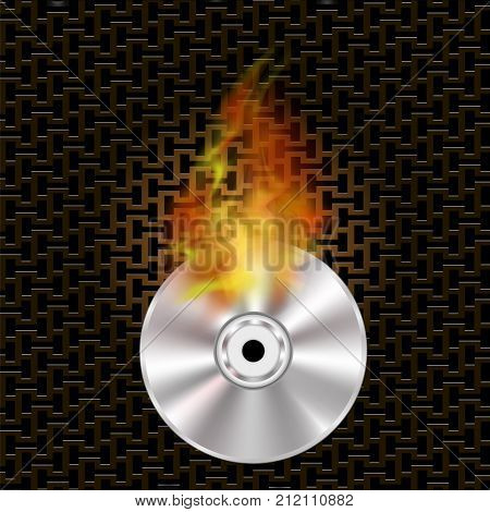 Grey Digital Burning Compact Disc with Fire and Flame on Dark Steel Perforated Grid