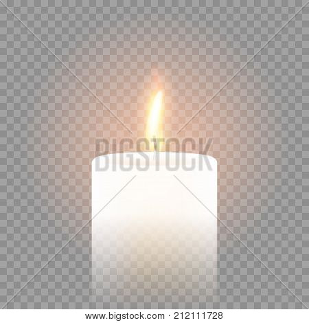Candle Flame Burning 3D Realistic Vector Transparent Background