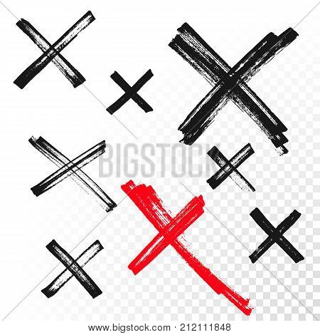 Reject Mark Criss Cross Sign Crossed Hand Drawn Vector Icon