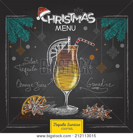 Chalk drawing christmas menu design. Cocktail tequila sunrise
