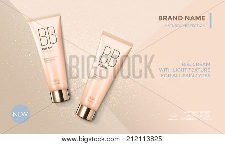 Cosmetic Package Advertising Vector Template Bb Face Cream