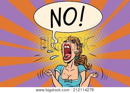 No furious screaming woman. Comic book cartoon pop art retro vector illustration drawing