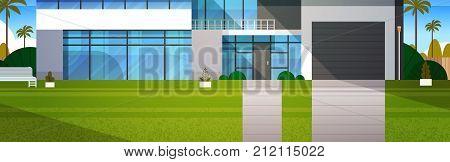 Cottage House Exterior Horizontal Banner Real Estate In Suburb Landscape Flat Vector Illustration