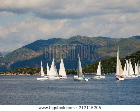 Marmaris, Turkey: 30 Oct 2017, Scenery Of The Ocean And Sailing  Boats Of Marmaris
