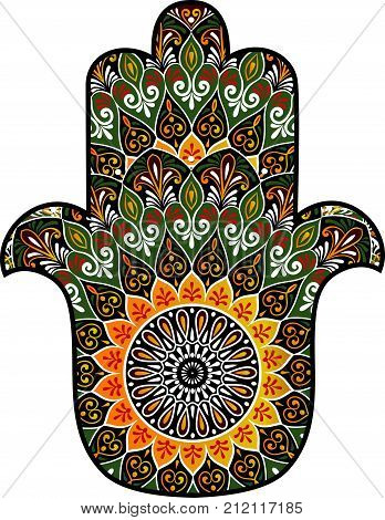 drawing of a colorful Hand of Fatima Hamsa with round ethnic pattern on a white background. Hand drawn tribal vector stock illustration