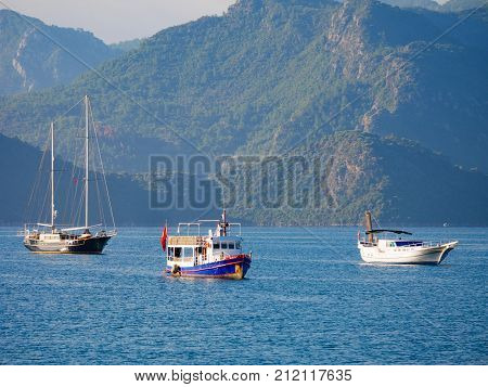 Marmaris, Turkey: 30 Oct 2017, Scenery Of The Ocean And Boats Of Marmaris