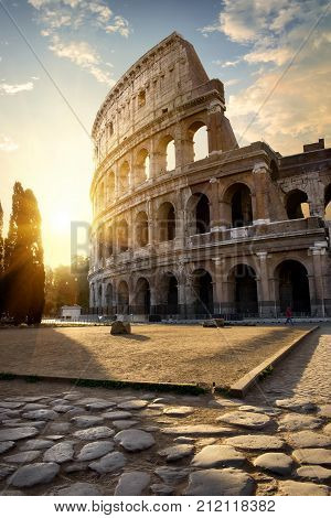 Great roman Colosseum in morning sunlight, Italy