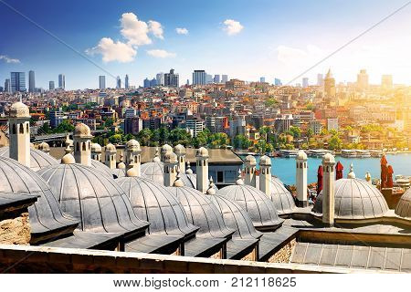 Domes of Suleymaniye mosque and cityscape of Istanbul, Turkey