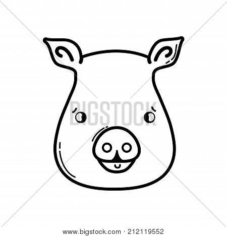 line cute pig head wild animal vector illustration