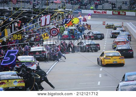 October 29, 2017 - Martinsville, Virginia, USA: The Monster Energy NASCAR Cup Series pits for service during the First Data 500 at Martinsville Speedway in Martinsville, Virginia.