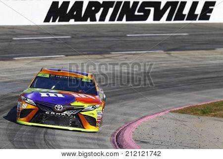 October 28, 2017 - Martinsville, Virginia, USA: Kyle Busch (18) brings his car through the turns during practice for the First Data 500 at Martinsville Speedway in Martinsville, Virginia.